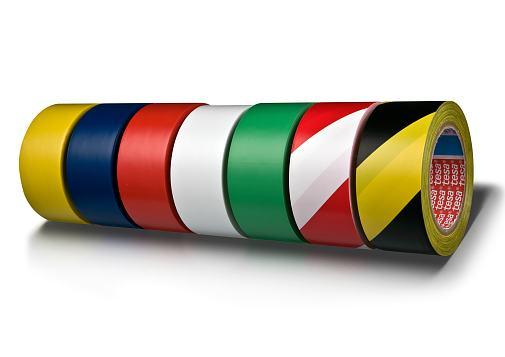 Traka za označavanje lepljiva 50mm/33m pvc Tesa 60760-92 belo-crvena 1/6/36